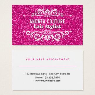 Cartão De Visitas Cabeleireiro cor-de-rosa da nomeação | do salão de