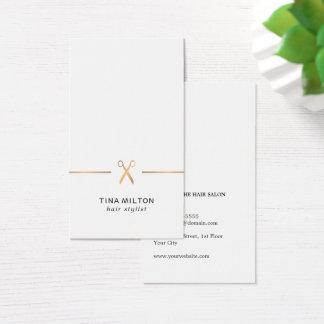 Cartão De Visitas Cabeleireiro limpo minimalista do branco do ouro