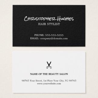 Cartão De Visitas Cabeleireiro preto e branco elegante minimalista
