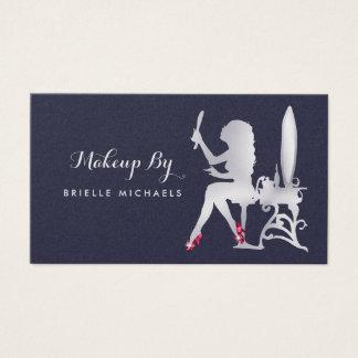 Cartão De Visitas Calçados de prata do vermelho do maquilhador da