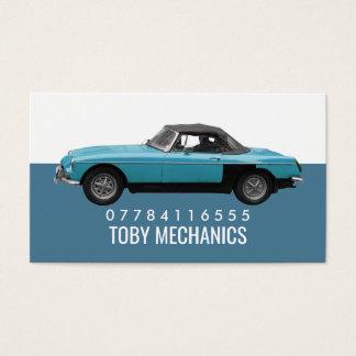 Cartão De Visitas Carro azul clássico, mecânicos