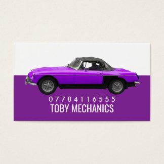 Cartão De Visitas Carro roxo clássico, mecânicos