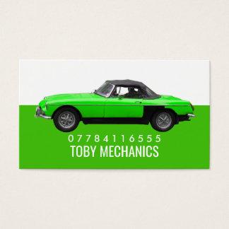 Cartão De Visitas Carro verde clássico, mecânicos