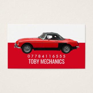 Cartão De Visitas Carro vermelho clássico, mecânicos