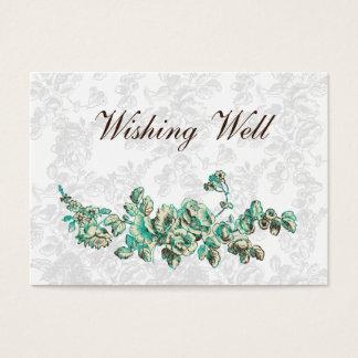 Cartão De Visitas Casamento floral chique do vintage do marfim e da