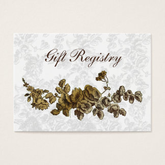 Cartão De Visitas Casamento floral do vintage chique de Brown do