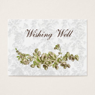 Cartão De Visitas Casamento floral do vintage chique do verde do