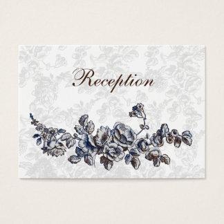 Cartão De Visitas Casamento floral do vintage do marinho