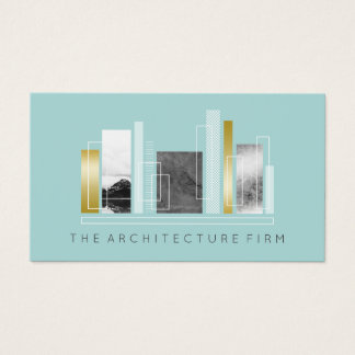 Cartão De Visitas Cerceta da luz da arquitetura & ouro geométricos