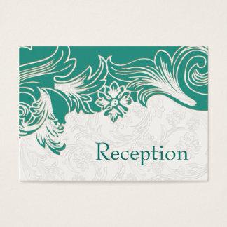 Cartão De Visitas Cerceta e design floral branco do casamento do