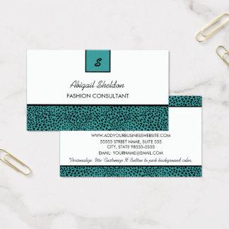Cartão De Visitas Cerceta na moda do monograma e impressão preto da