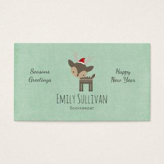 Cartão De Visitas Cervos do Natal em um hipster retro do chapéu