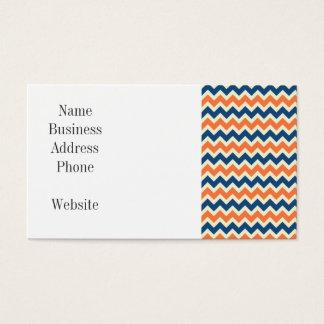 Cartão De Visitas Chevron azul e alaranjado colorido listra