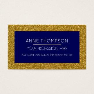 Cartão De Visitas chique azul & dourado profundo & moderno