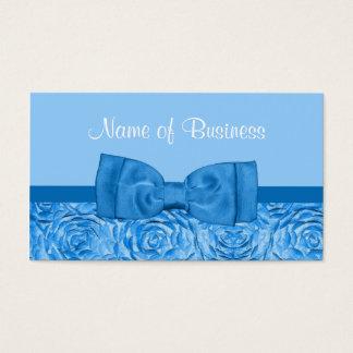 Cartão De Visitas Chique que brilha floral azul com arco bonito