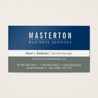 Cartão De Visitas Cinza de azuis marinhos incorporado simples liso
