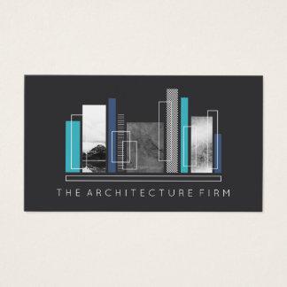 Cartão De Visitas Cinzas & azul geométricos da arquitetura