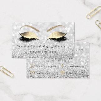 Cartão De Visitas Cinzas de prata do ouro do brilho dos chicotes da