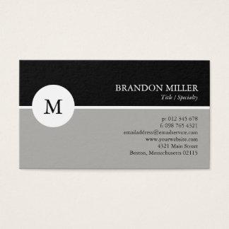Cartão De Visitas Cinzas do monograma & preto modernos uma tomados