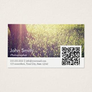 Cartão De Visitas Código da fotografia QR da natureza do fotógrafo