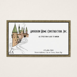 Cartão De Visitas Construção ou arquitetura Home com castelo