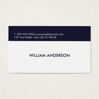 Cartão De Visitas Consultante azul branco limpo elegante simples