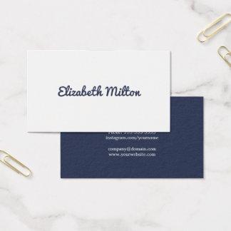 Cartão De Visitas Consultante branco azul escuro minimalista