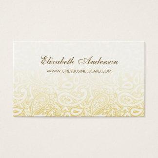 Cartão De Visitas Cor damasco elegante de Paisley do ouro e do