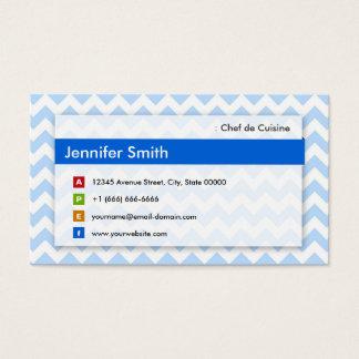 Cartão De Visitas Cozinheiro chefe de Culinária - Chevron azul