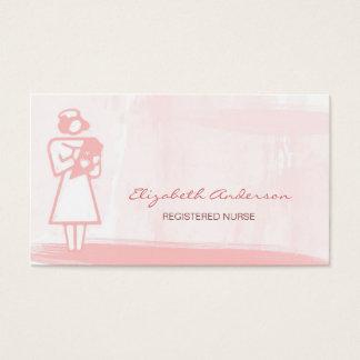 Cartão De Visitas Cuidados médicos cor-de-rosa femininos da aguarela