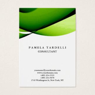 Cartão De Visitas Curvas modernas originais verdes & brancas da