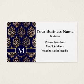 Cartão De Visitas Damasco Monogrammed azul escuro e do ouro