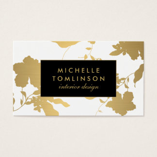 Cartão De Visitas Desenhista floral do branco do teste padrão do