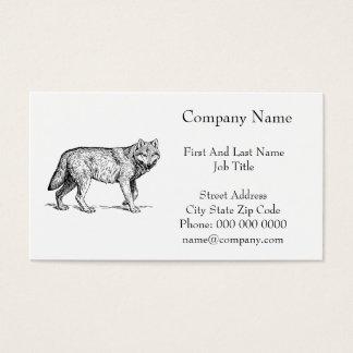 Cartão De Visitas Desenho elegante da tinta do lobo cinzento