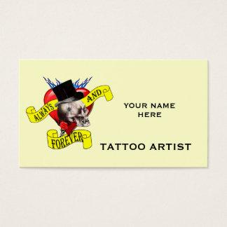 Cartão De Visitas Design do tatuagem do crânio e do coração de