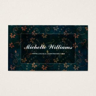 Cartão De Visitas Design floral escuro elegante bonito do marinho