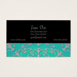 Cartão De Visitas Design verde do abstrato do azul de turquesa