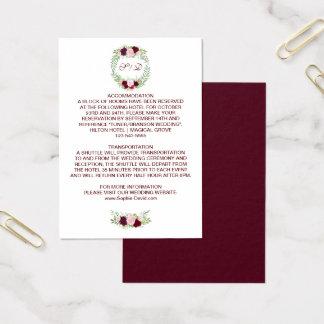 Cartão De Visitas Detalhes florais rústicos do casamento da grinalda