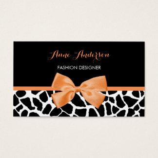 Cartão De Visitas Do impressão feminino do girafa do Clothier arco