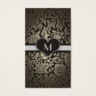 Cartão De Visitas Elegante elegante do monograma floral preto do