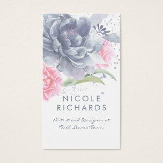 Cartão De Visitas Elegante floral empoeirado da aguarela cor-de-rosa
