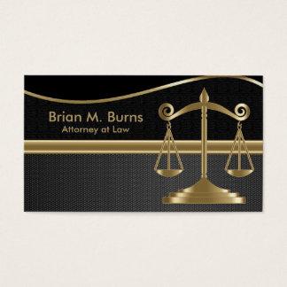 Cartão De Visitas Escalas da lei   do advogado de justiça   - ouro e