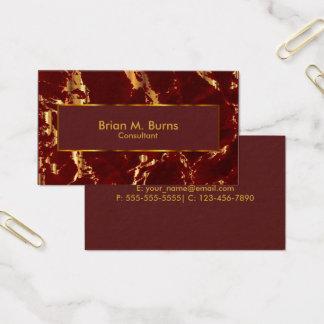 Cartão De Visitas Escuro - o mármore vermelho e o ouro metálico