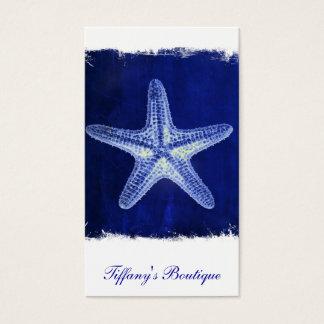Cartão De Visitas estrela do mar azul náutica rústica da praia