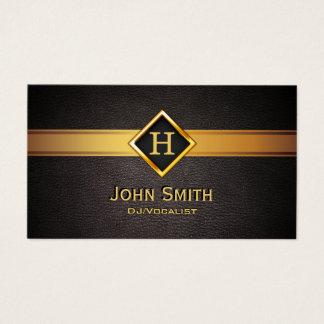 Cartão De Visitas Etiqueta real do ouro do monograma da música de