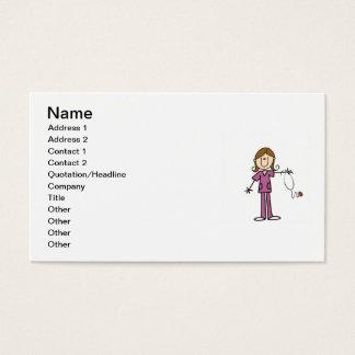 Cartão De Visitas Figura fêmea enfermeira da vara do cabelo de Brown