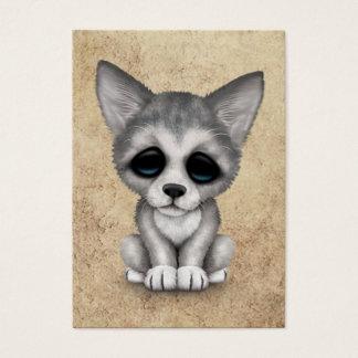 Cartão De Visitas Filhote de cachorro bonito de Cub de lobo cinzento