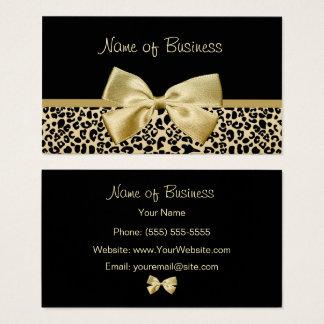 Cartão De Visitas Fita Glam do ouro do impressão do leopardo do