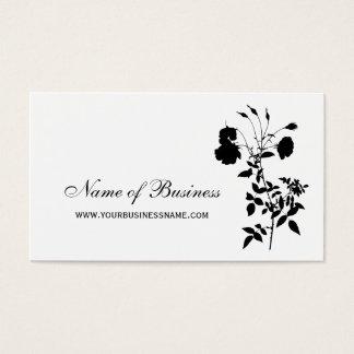 Cartão De Visitas Flor cor-de-rosa elegante floral preto e branco