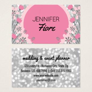 Cartão De Visitas Floral cor-de-rosa de prata do consultante | Bokeh